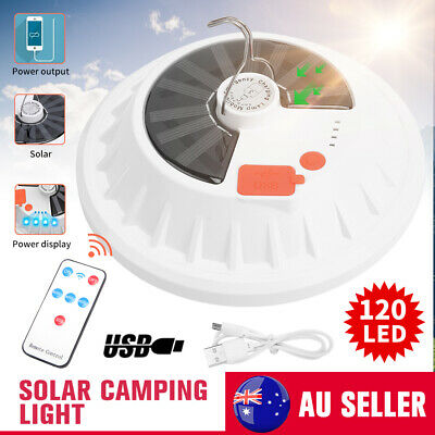 AU20.95 • Buy 120 LED Solar Rechargeable USB Charging Outdoor Camping Light Tent Lantern Lamp