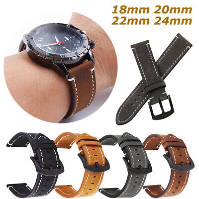 £5.39 • Buy 18/20/22/24mm Genuine Leather Watch Band Strap Quick Release Pin Replacement