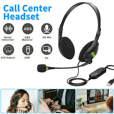 £9.39 • Buy USB Wired Headset Headphones With Microphone Mic For Computer PC Centre Call