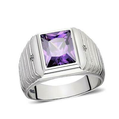 £135.30 • Buy Real 925 Solid Sterling Silver Mens Purple Amethyst Ring With 2 Diamonds All Sz