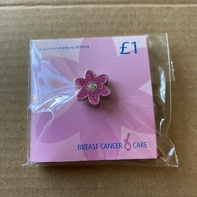 £1.20 • Buy Breast Cancer Care Glittery Pink Flower Charity Pin Badge