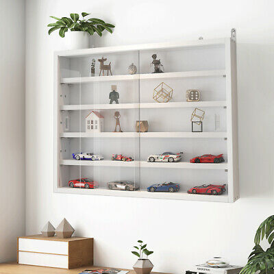 £64.95 • Buy White Collectors Display Cabinet 5 Tier Wall Mounted Wooden Shelf Organiser Rack