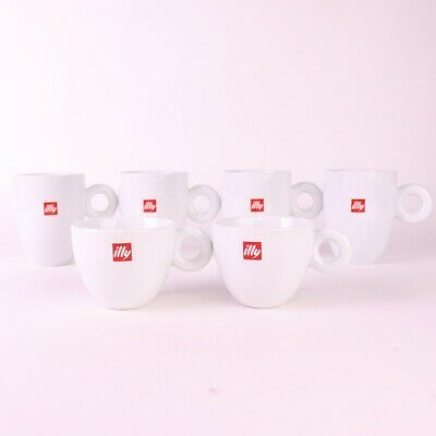 £40.06 • Buy Illy Cappuccino Illy White Cups Red Logo Coffee Porcelain Mug Set