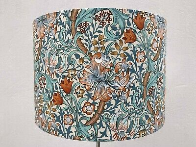 £24 • Buy William Morris Golden Lily Lampshade Teal And Orange Floral Fabric - Handmade