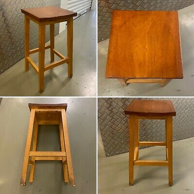 £95 • Buy 🌟Vintage Solid Pine Tall Stool Square School Lab Man Cave Home Bar Wooden MCM