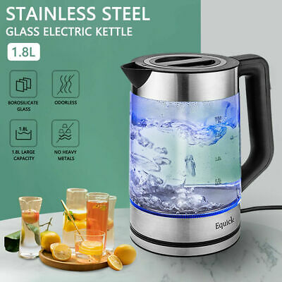 £13.69 • Buy 1.8L Blue Light Household Stainles Steel Glas Water Boiling Electric Kettle Boil