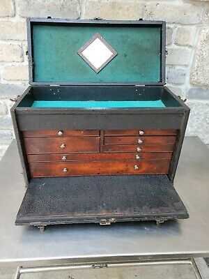 $175 • Buy Vintage Wood 7-Drawer Machinist Chest Tool Box