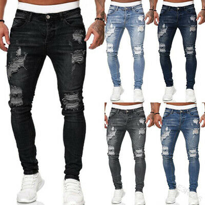 $32.59 • Buy Mens Skinny Ripped Jeans Stretch Distressed Denim Pants Casual Slim Fit Trousers