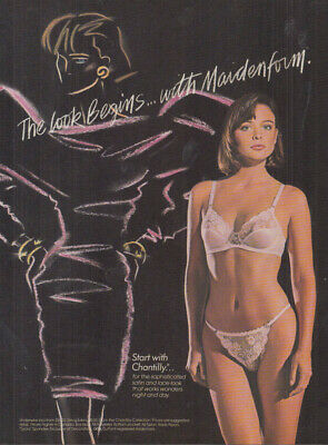 $9.99 • Buy The Look Begins With Maidenform Chantilly Bra & Panty Ad 1987