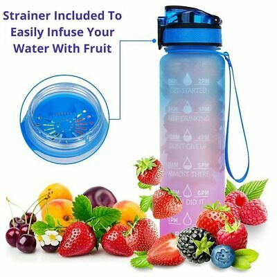 AU18.59 • Buy 1L Water Bottle Motivational Drink Flask With Time Markings BPA Free Sport Gym