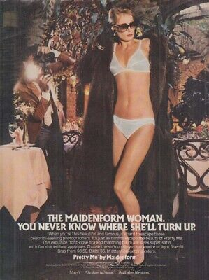 $9.99 • Buy Maidenform Woman You Never Know Where She'll Turn Up Bra Panty Ad 1981 Photog