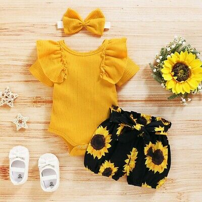 AU15.59 • Buy Newborn Baby Girl 3PCS Clothes Floral T Shirt Tops Shorts Headband Outfits Sets