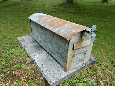 $75 • Buy VINTAGE One Of Kind RUSTIC GALVANIZED STEEL OLD FARM RURAL MAILBOX Hand Made