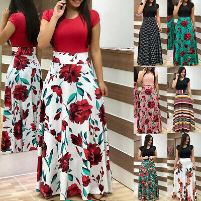 £10.99 • Buy Women Summer Beach Floral Dress Ladies Holiday Party Long Maxi Dresses Plus Size