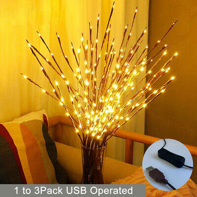 £11.37 • Buy 60LED Branch Twig Lights Light Up Willow Branches USB Plug-in Christmas Decor UK