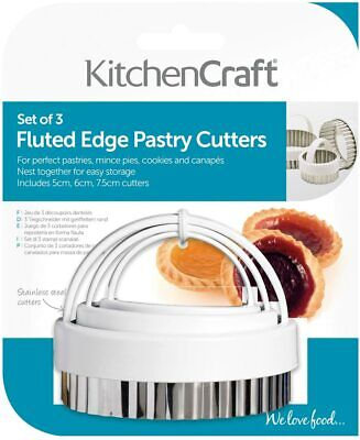 £7.99 • Buy Kitchencraft Fluted Pastry Cutters And Handles Stainless Steel Set 3 KCPASTRY3