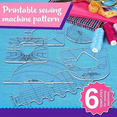 $12.41 • Buy 6pcs Quilting Template Home Stencil Free Motion Reusable For Machine Acrylic.
