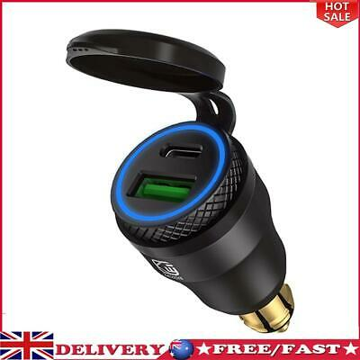 £13.99 • Buy DIN Plug To QC3.0 + PD USB Charger W/ LED Light For Motorcycle (Black+Blue)