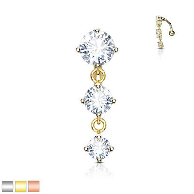 £5 • Buy REVERSE DROP TOP DOWN BELLY BAR WITH 3 CLEAR  Cz ROUND CRYSTALS