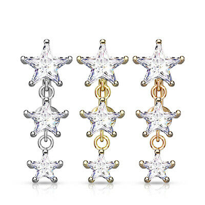 £4.95 • Buy REVERSE DROP TOP DOWN BELLY BAR WITH 3 CLEAR CRYSTAL Cz HEARTS