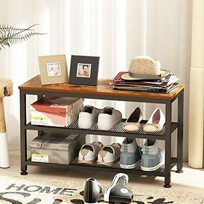 AU121.94 • Buy Shoe Bench 2-Tier Industrial Shoe Storage Rack With Seat For Small Spaces Entr