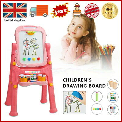 £20.99 • Buy Pink Folding Double Sided Magnetic Drawing Board Easel With Colour Chalk Eraser