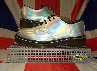 £75.99 • Buy RARE*Holographic Holo Iced Silver Dr Doc Martens*Kitsch Kawaii Goth Skingirl*6