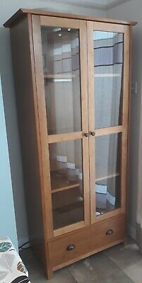 £50 • Buy Light Oak Cabinet , Excellent Condition, Glass Doors, 4 Shelves And Bottom Draw