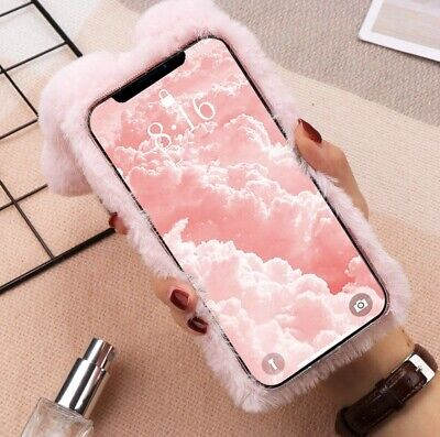 £10.99 • Buy Pink Furry IPhone 11 Case Rabbit Cover Plush With Ears Fur Ball Protective Case