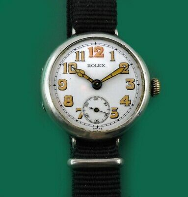 $ CDN2516.44 • Buy Vintage 1915 ROLEX  WWI Military Trench Antique Sterling Watch Porcelain Dial