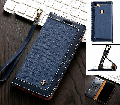AU13.50 • Buy Oppo A73 A75 F5 Wallet Case Denim Leather Combined Style Lanyard