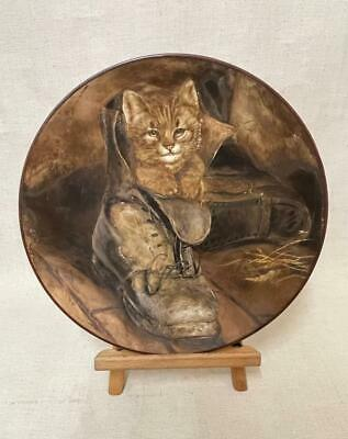 £145 • Buy Kitten / Cat In Boot Painted Wall Charger By F.G Adlard 1885 - 19th Century Art