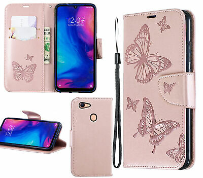 AU10.95 • Buy Oppo A73 A75 F5 Wallet Case Embossed Pu Leather Twin Butterfly