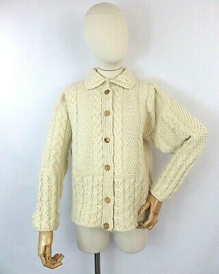 £37.99 • Buy Vintage Country Scene Cream Ivory Wool Cable Aran Knit Cardigan Sweater S 12