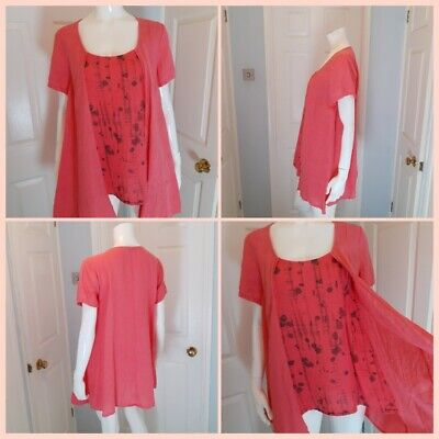 £13.99 • Buy EDEN ROCK Linen Tunic Long Top S Lagenlook Made In Italy Quirky Arty Coral Pink