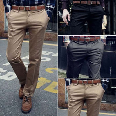 $21.75 • Buy Mens Slim Fit Stretch Chino Trousers Casual Flat Front Business Dress Long Pants