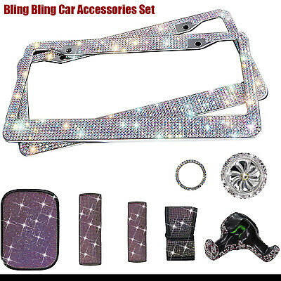 $33.99 • Buy 11PC Bling Car Accessories Set License Plate Frame Seat Purple Diamond For Women