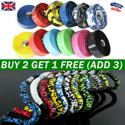 £4.49 • Buy Handlebar Tape Cycling Road Bike Bicycle Handle Rubber Foam Wrap Tapes With 2Bar