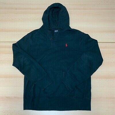 £14.99 • Buy Ralph Lauren Hoodie Mens Large Black Hooded Buttoned Pullover Pony Logo