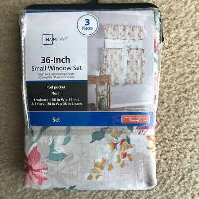 $13.49 • Buy NEW Mainstays Floral 3 Piece Window Curtain Set Country Cottage Farmhouse