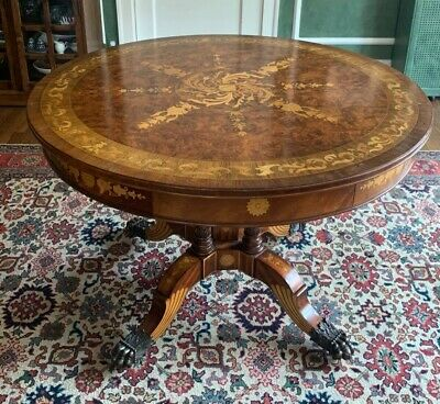 $2400 • Buy Maitland-Smith#3030-773 Mahogany Round Table With Inlays (Pre-owned)
