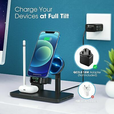 AU39.99 • Buy Seneo 4in1 Qi Wireless Charger Fast Charging Dock Stand For Airpods Apple IPhone