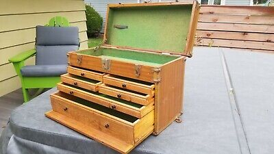 $199.99 • Buy Vintage Machinists 6 Drawer Oak Wood Chest Tool Box Jewelry Watch Display Store