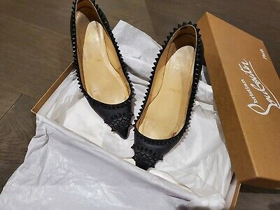 £156.06 • Buy Authentic Christian Louboutin Studded Flats 36 In Black Spiked Stud
