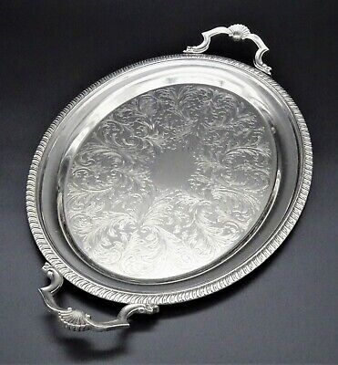 £44.99 • Buy Superb Large Cavalier Gallery Butlers Serving Tray 20  Silver Plate Twin Handle