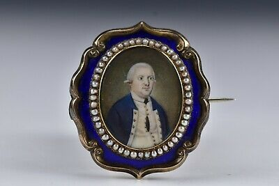 $2195 • Buy English Miniature Portrait Painting Of Military Captain Silver Mourning Frame
