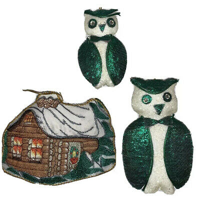 $ CDN19.99 • Buy Vintage Christmas Owl Ornament Lot Decorations Sparkly Traditional