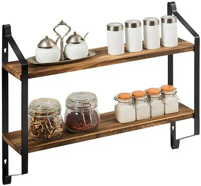 £12.99 • Buy Large Rustic Industrial Pipe Wall Floating Shelf Wooden Storage Shelving Unit