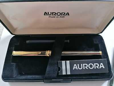 £39.99 • Buy VINTAGE Aurora Fountain Pen, Chrome With Gold Trim, Original Case Made In Italy