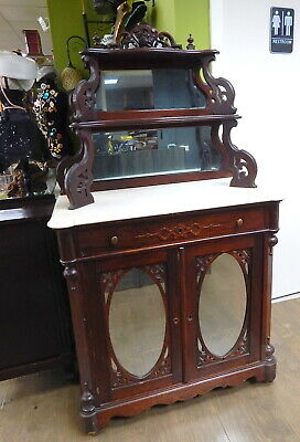 $599.99 • Buy Antique 1800s Carved Marble Top Mahogany Bar Cabinet Etagere French Empire